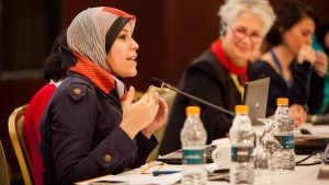 Grantee speaks at a convening in the MENA region. Photo copyright Bowerbird Photography.