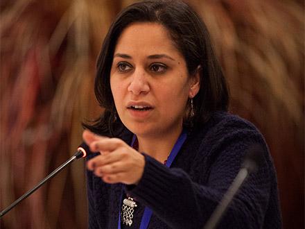 Grantee partner speaks at the MENA regional convening