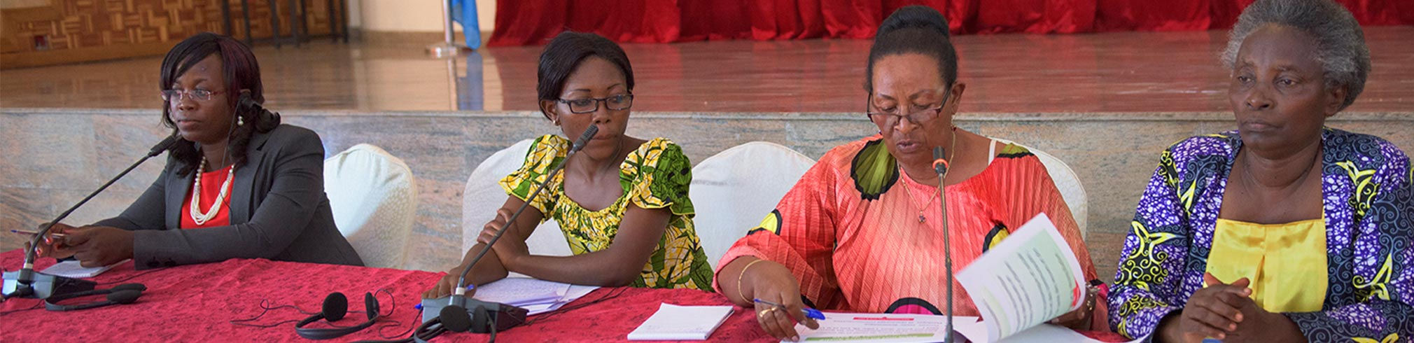 Panel discussion with (L-R) Elizabeth Ampairwe- project coordinator with EASSI in Uganda, Marie-Grace Safiamina of SOFAD RDC, Suzanne Ruboneka of Rwanda Women's Network in Rwanda, Nizigiyimana of Burundi. Panel discussing the role of rural women in security and peace.