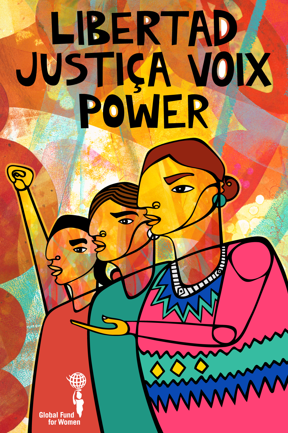 Art + Activism = Infinite Power. Sharing in a collective workshop on merging art with activism led by Board Member Amina Doherty and social justice artist Favianna Rodriguez, participants helped create this powerful piece of original art as well as creative posters of their own.